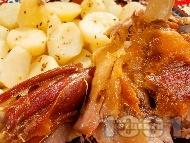 Печено ярешко бутче на порции с мед, горчица и картофи на фурна